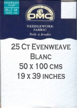 25 Count Evenweave 50 cm x 100 cm (19 x 39 inches)