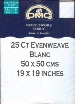 25 Count Evenweave 50 cm x 50 cm (19 x 19 inches)